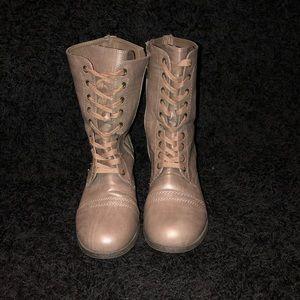 Women's Camel Color Combat Boots Size 10